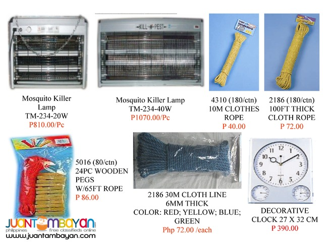 Pest Killer, Clocks, Ropes,Glue trap, Wooden Trap and Irons