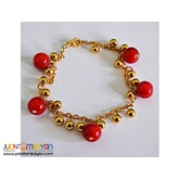 Gold Bead Bracelet with Red Ceramic Beads