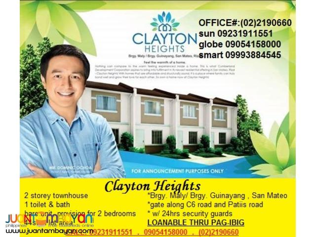 Murang Pabahay ng Pagibig Clayton Heights SanMateo