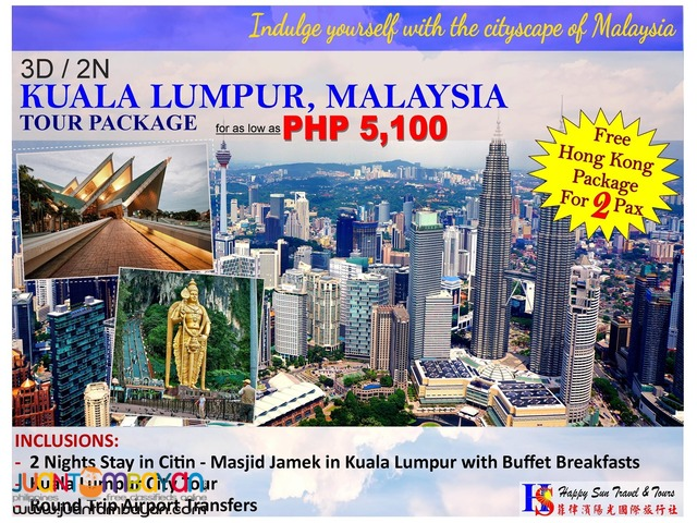 3D2N Kuala Lumpur Tour Package with Free Hong Kong Package
