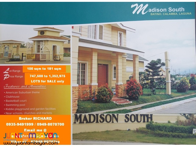 MADISON SOUTH Bgy Batino, Calamba Laguna LOW PRICED LOTS