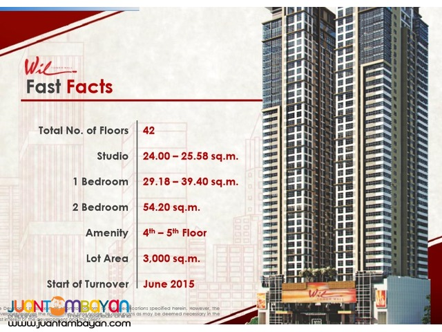 Studio Type (24 sqm) Wil Tower Ready For Occupancy 5% DP to MOVE IN