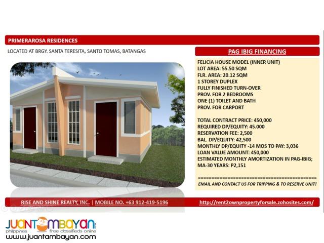 Felicia Duplex thru Pag Ibig in Santo Tomas Batangas