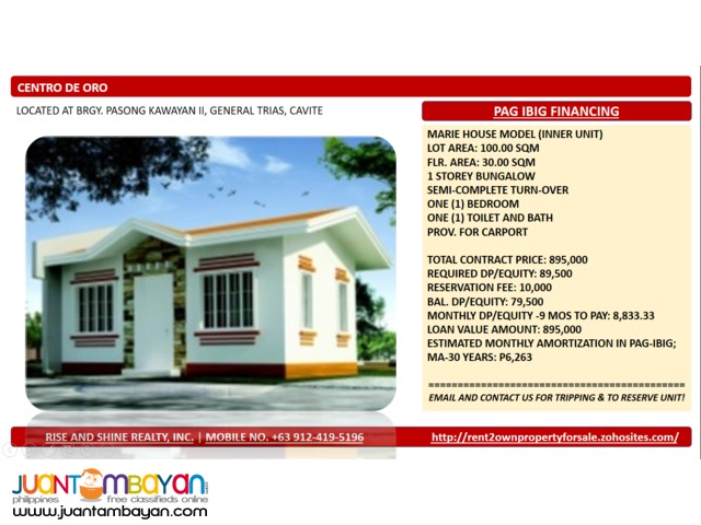 Marie Bungalow thru Pag Ibig in General Trias Cavite