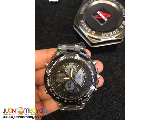 CASIO EDIFICE G SHOCK - GSHOCK METAL FACE WITH RUBBER STRAP