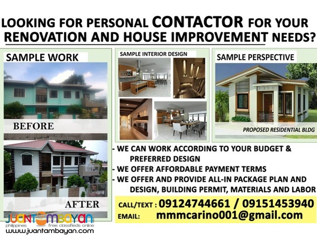 Personal Contractor for renovation or house improvement