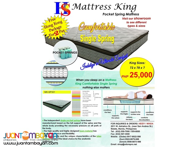 Mattress King: Comfortable Single Spring with Free Hong Kong Pkg