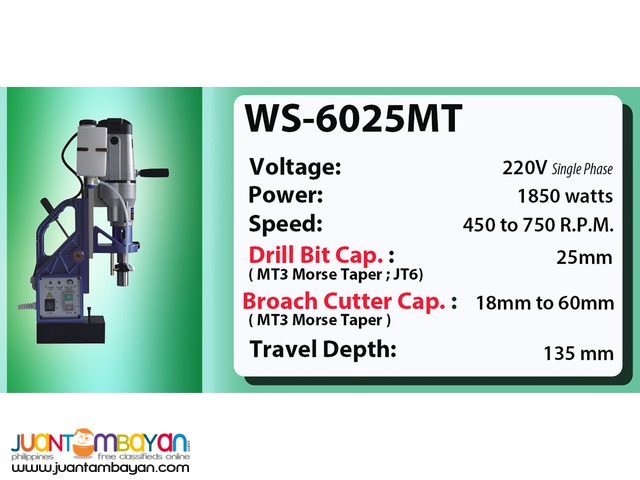 Portable Magnetic Drill WS-6025MT