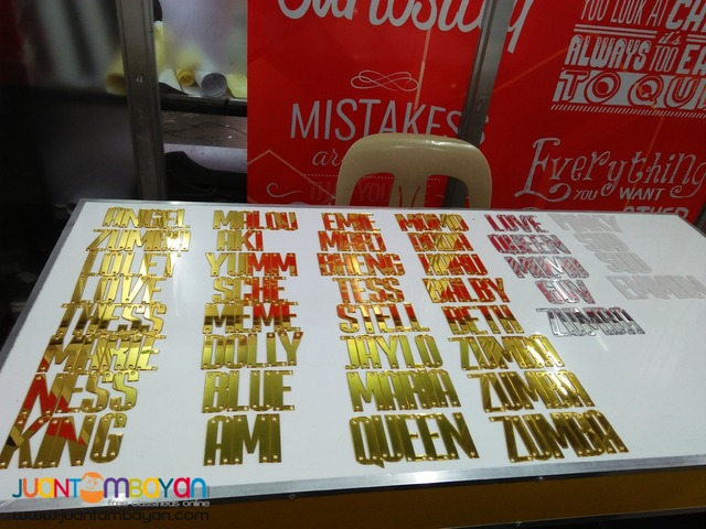 Mirrorize Acrylic Cut-Out Letters for Name Cap