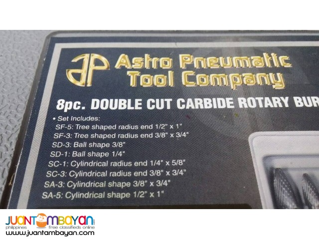 Astro Pneumatic 2181 8-piece Double Cut Carbide Rotary Burr Set