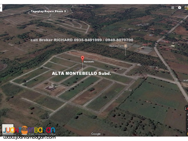 MONTEBELLO Tagaytay Lots = from 7,000 to 7,300/sqm