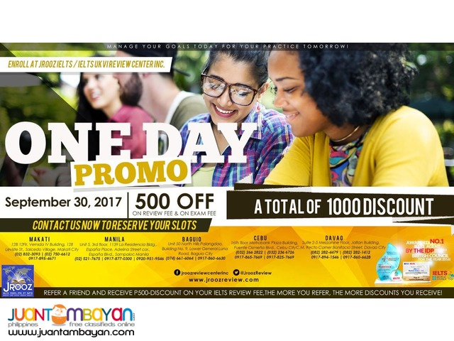 JROOZ IELTS One Day Promo – September 30, 2017