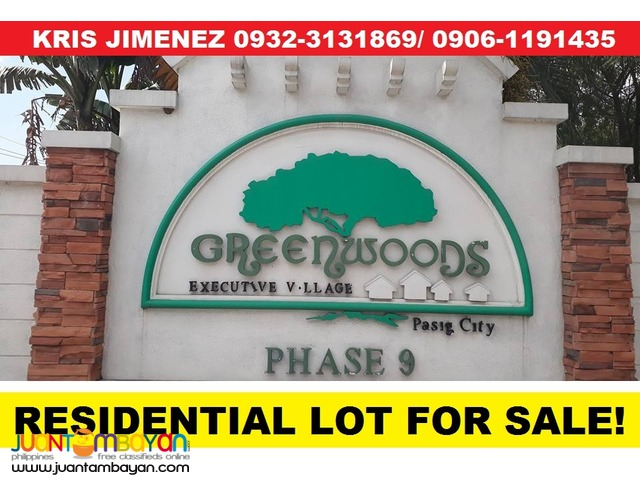 LOT FOR SALE in PASIG - GREENWOODS EXECUTIVE VILLAGE