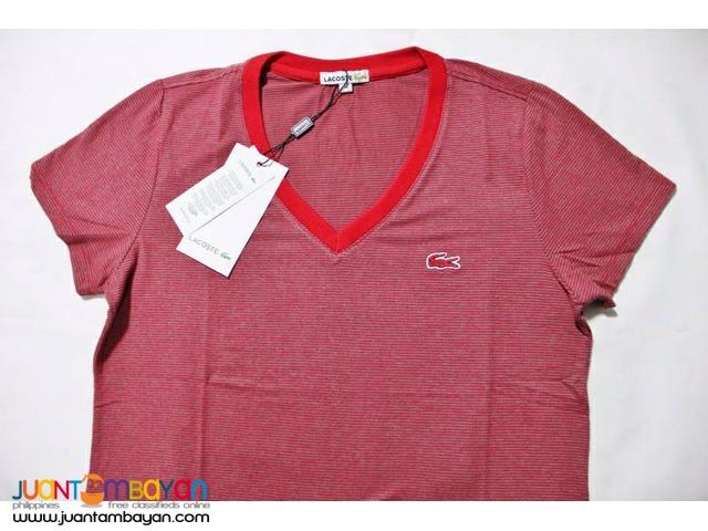 LACOSTE V NECK SHIRT STRIPES FOR WOMEN