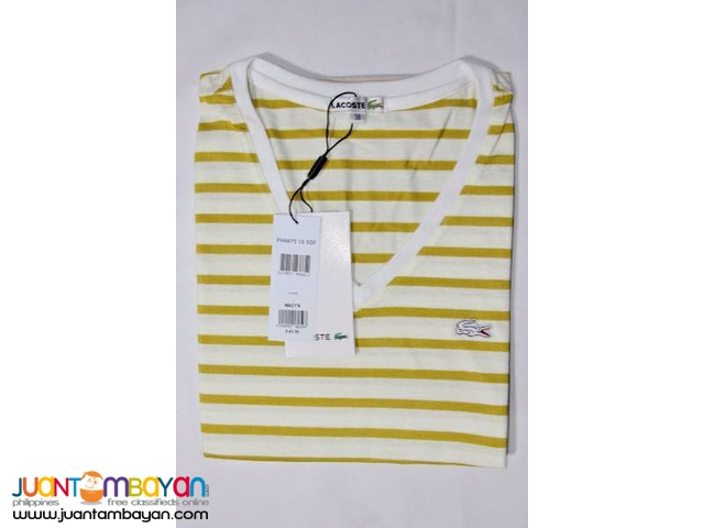 LACOSTE V NECK SHIRT STRIPES FOR WOMEN
