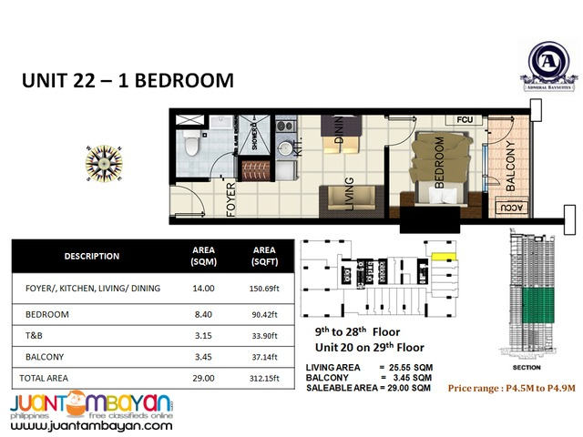 Manila Luxury Condo for Sale near Bay City 1 bedroom and 2 bedrooms