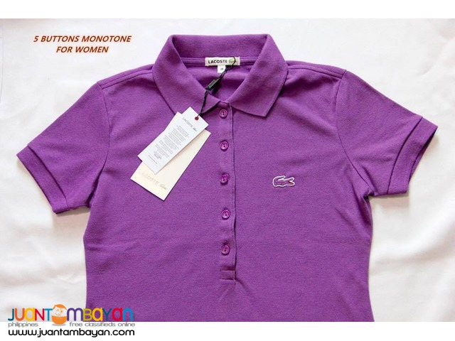 LACOSTE T SHIRT FOR WOMEN - LACOSTE 5 BUTTONS LADIES T SHIRT