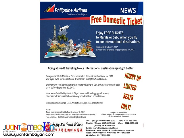 Philippine Airlines Free Domestic Ticket