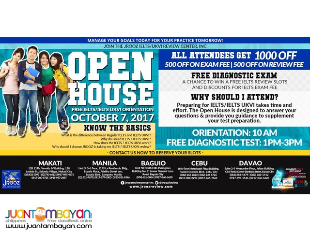 JROOZ IELTS / IELTS UKVI OPEN HOUSE – October 7, 2017