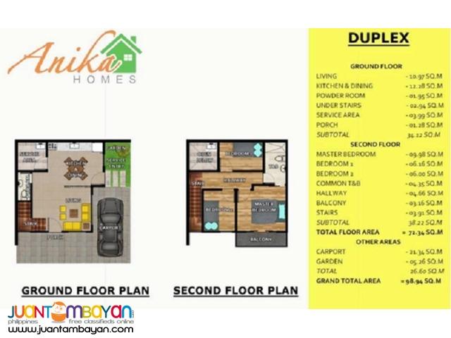 ANIKA HOMES SUBD LABANGON CEBU CITY 2 STOREY DUPLEX DREI MODEL