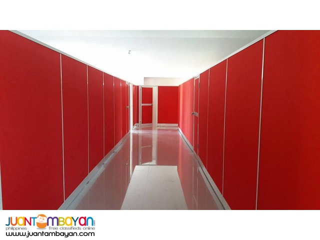 Red Fabric Floor to Ceiling