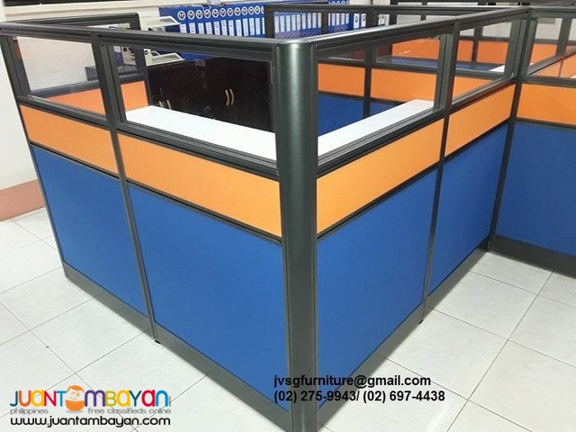 Glass top Office Partition with Two toned