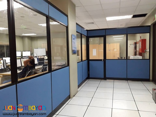 Glass top with Full fabric office partition