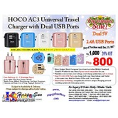HOCO AC3 Universal Travel Charger with Dual USB Ports