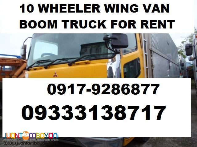 10 wheeler wing van drop side open boom truck for rent