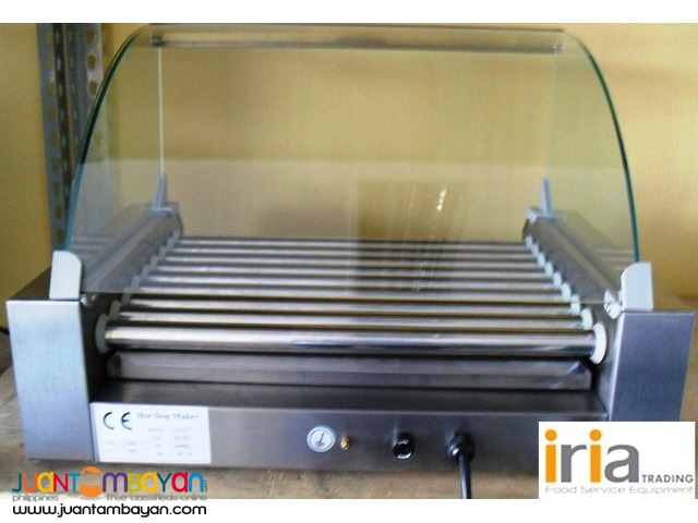 Hotdog Roller (7 rollers) with glass cover
