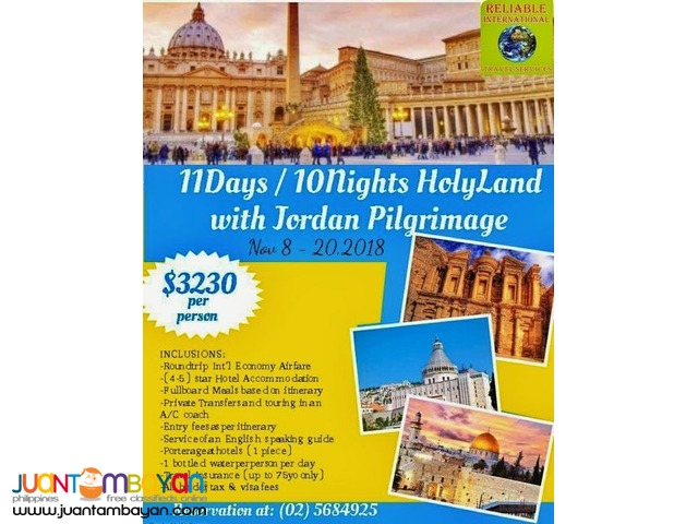 11Days & 10 Nights Holyland with Jordan Pilgrimage Package