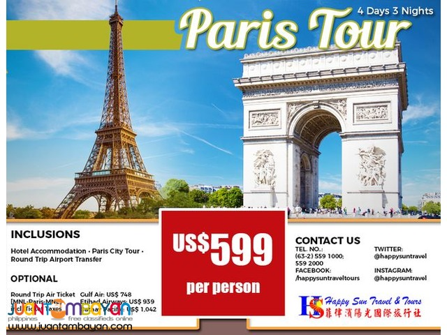 4D3N Paris Package with City Tour