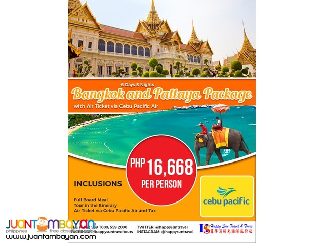 6D5N Bangkok and Pattaya Full Board with Air Ticket