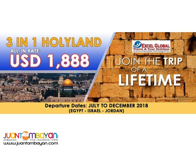 Join the Trip of A Lifetime.3 IN 1 HOLY LAND TOUR PACKAGE SALE!!!