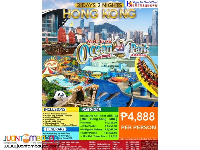 3D2N Hong Kong City Tour + Ocean Park tour