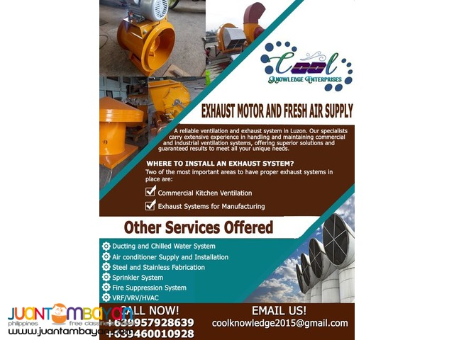 Exhaust Motor and Fresh Air Ventilation service