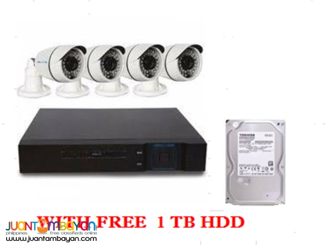 1MP BULLET TYPE CAMERA WITH 8 CHANNEL DVR w/  free 1 TB HDD