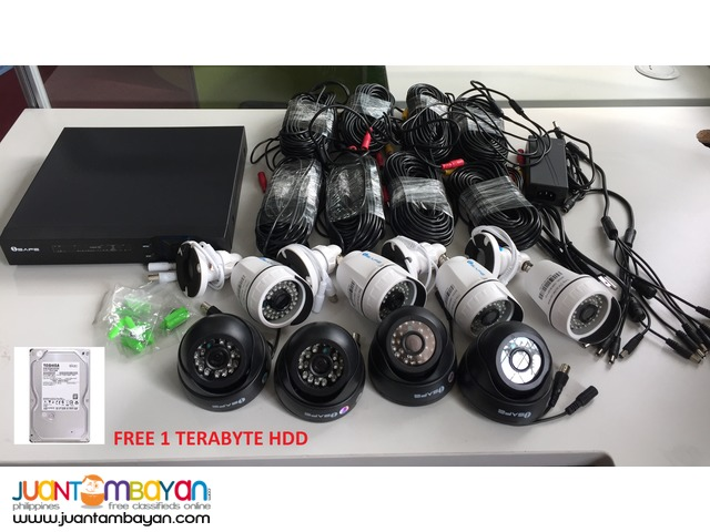 4 indoor and 4 outdoor 1mp Cctv Camera Package w/ 1TB HDD