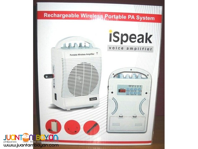 Portable Amplifier Sound System iSpeak SH222u Lapel Wireless Mic