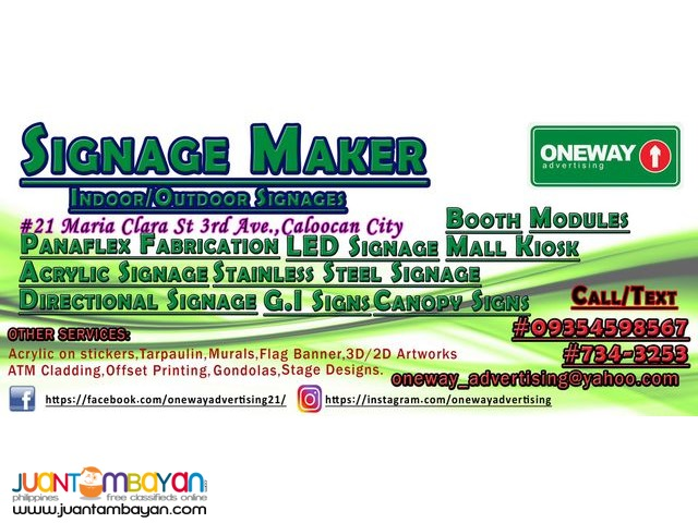 Signage Maker in Caloocan: oneway advertising