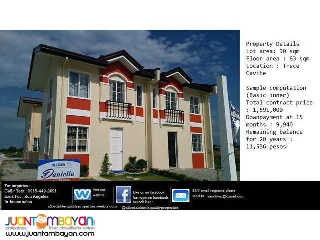 House and lot in Trece Martires near SM Trece 9,940 monthly