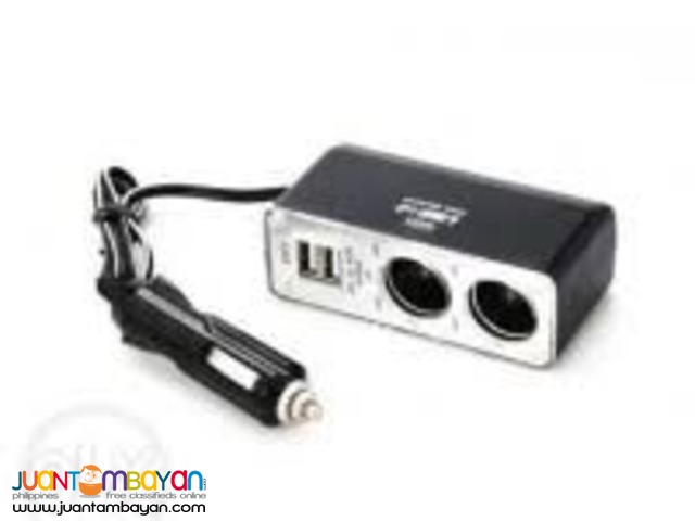 DUAL USB TWIN 2-WAY SOCKET CAR CABLE CIGARETTE POWER ADAPTER