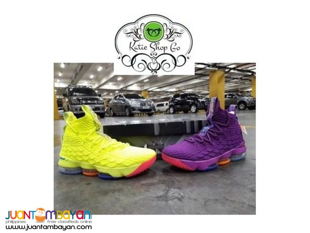 timeless design 52e9f 31f55 NIKE LEBRON 15 CONFETTI VOLT & PURPLE BASKETBALL SHOES