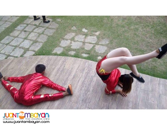 Party entertainment roaming around performers and stage Show