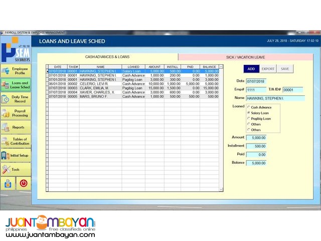 Payroll System with Finger Scan or Card Swipe