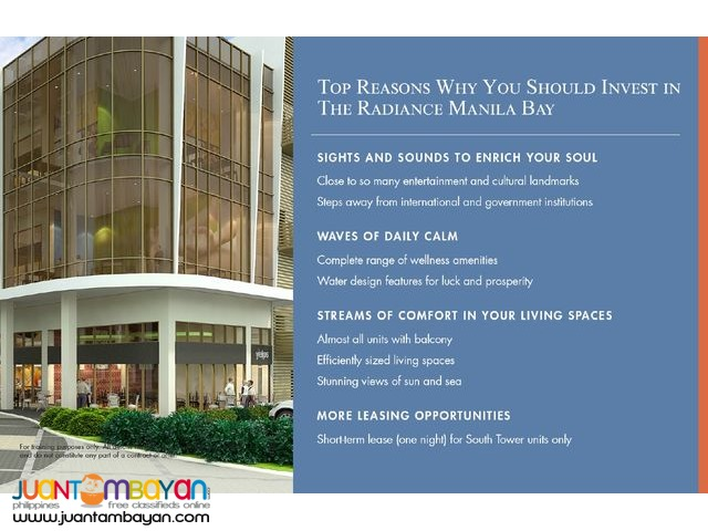 THE RADIANCE MANILA BAY READY FOR OCCUPANCY IN ROXAS BLVD. PASAY
