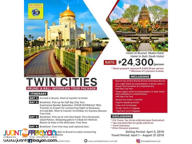 5D4N TWIN CITIES BRUNEI BALI INDONESIA TOUR PACKAGE + AIRFARE
