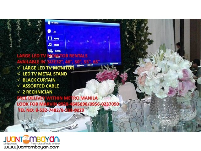 LARGE MONITOR LED TV RENTALS WITH STAND