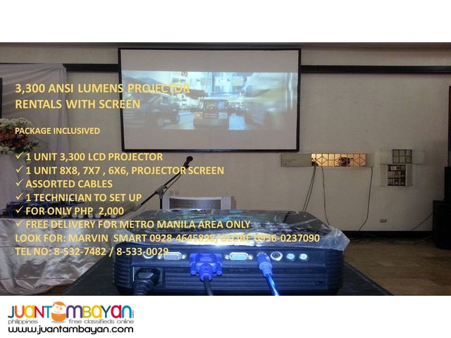 CHEAPEST PROJECTOR RENTALS WITH SCREEN