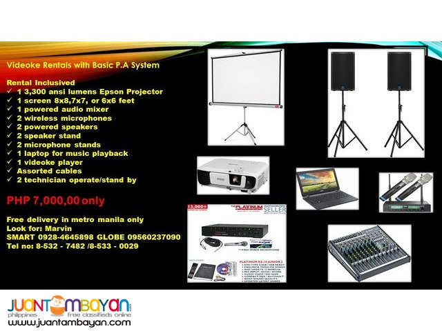 VIDEOKE RENTAL WITH BASIC P.A SYSTEM